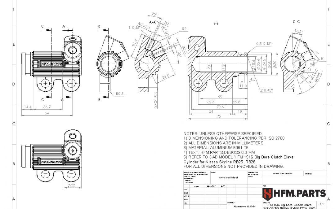 HFM 1516 Big Bore Clutch Slave Cylinder for Nissan Skyline RB25, RB26