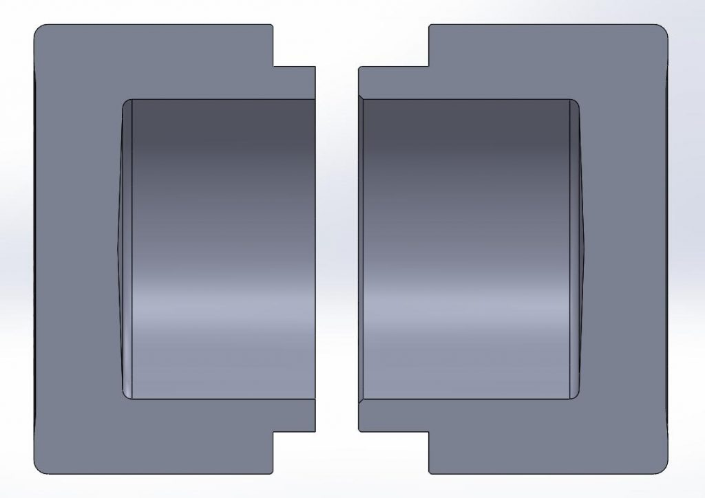 Comparison between the modified piston on the left and the standard one