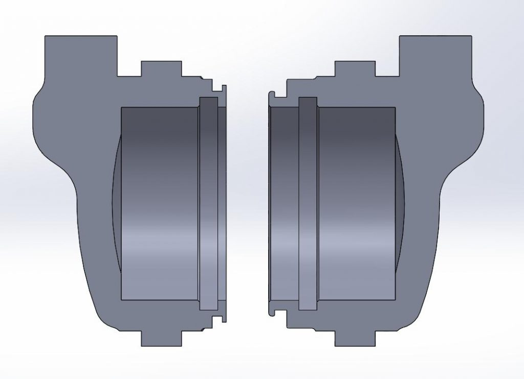 On the left is the modified piston and on the right is the original one.