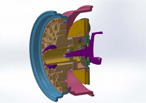 Cross section of the single nut wheel and hub assembly