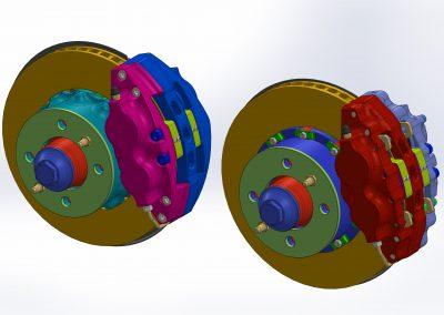 Aluminum four piston brake calipers for Lada