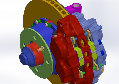The bigger version of the four cylinder brake caliper. You can see the anti-rattle springs colored in lime green. This example shows float into hat style of mounting the brake disc