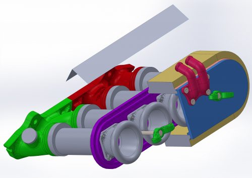 """Section view, showing the internals of the """"air filter box"""". Integrated velocity stacks, for improved air flow"""