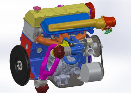Back view of the whole sequential turbo system for Lada