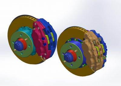 Aluminum six piston brake calipers for Lada