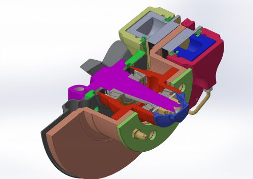 Solid disc and caliper showing one stock and one aluminum piston