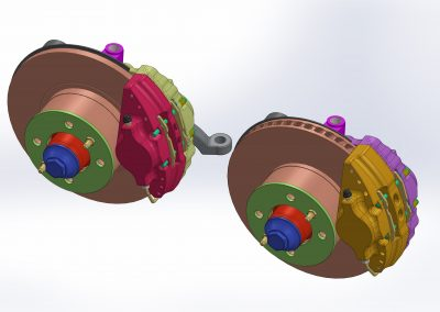 Standard brakes and ventilated with standard size caliper made of aluminum