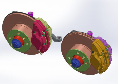 Stock solid disc with aluminum caliper on the left and ventilated disc and aluminum caliper on the right