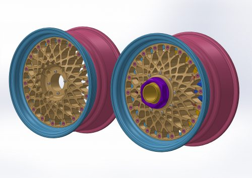 The wheels with the center section visible